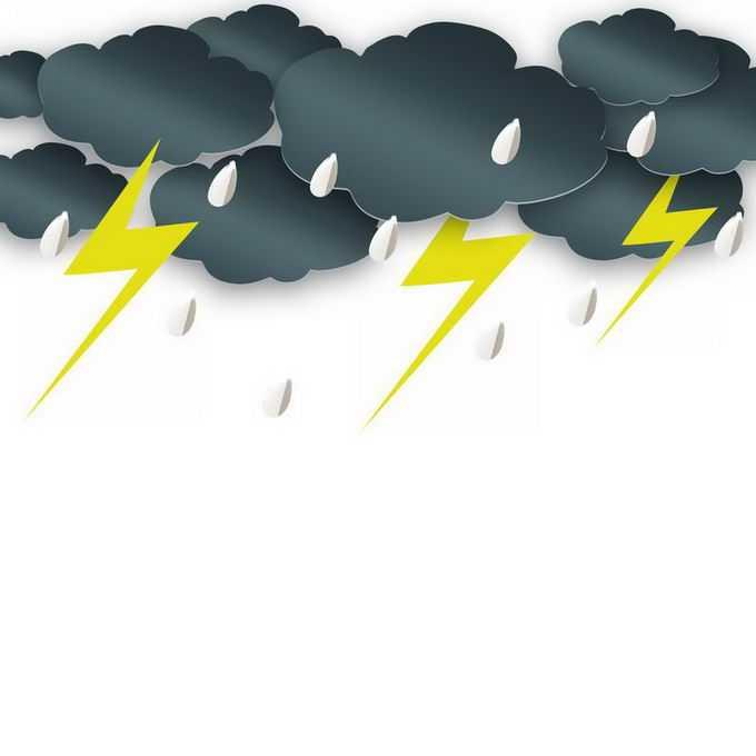 剪纸叠加风格的乌云和闪电雨滴雷阵雨天气5444454免抠图片素材