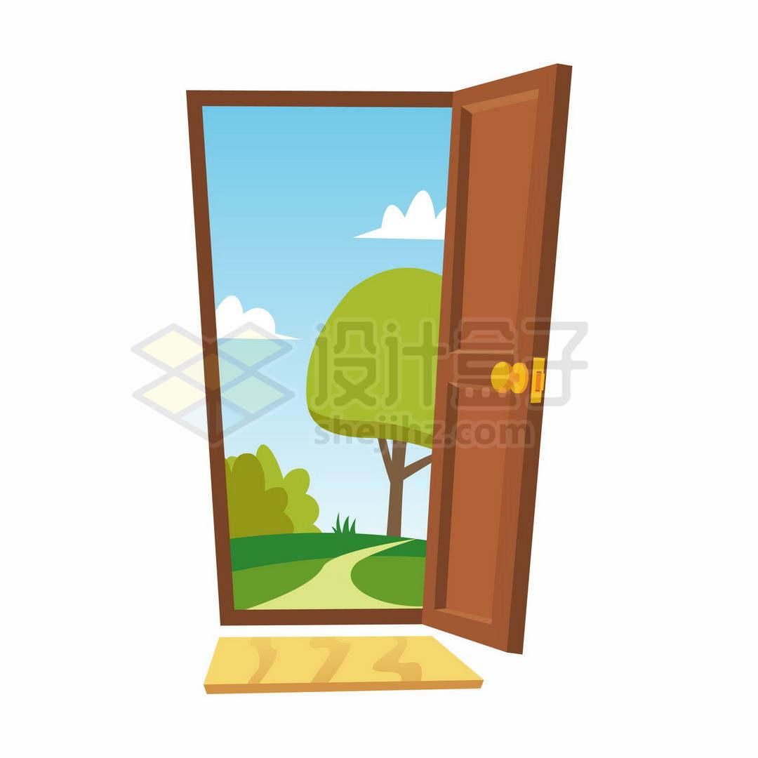 打开的卡通房门大门和门外的风景6425582矢量图片免抠素材