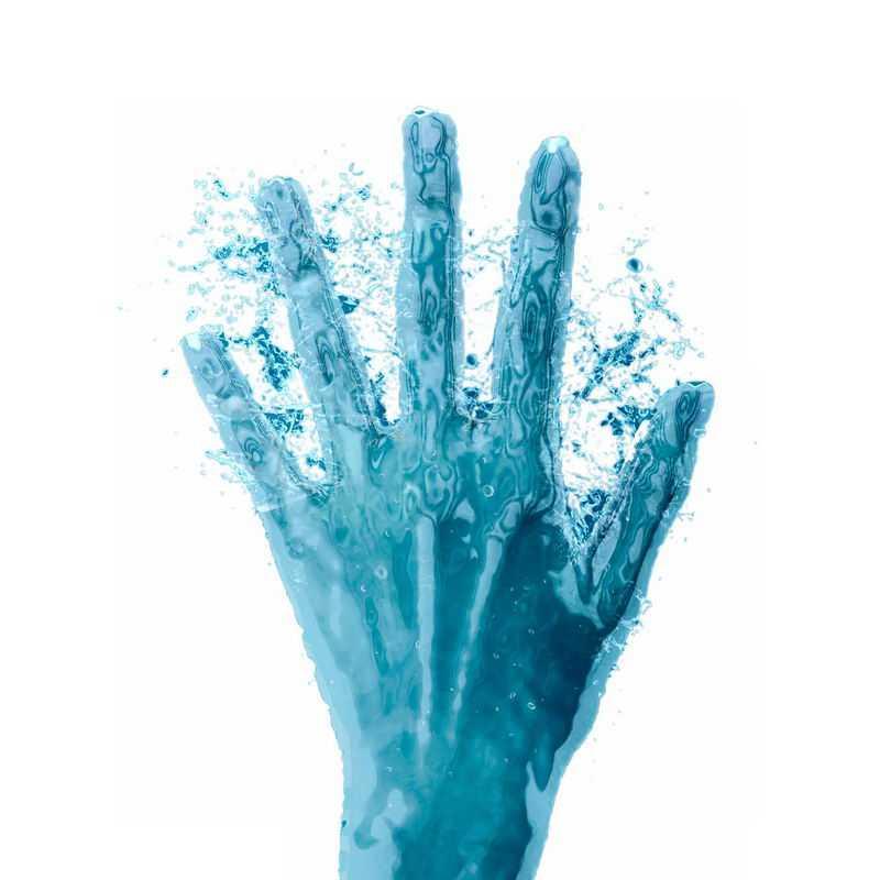液化效果蓝色手指展开五指手势液态水效果7569380免抠图片素材
