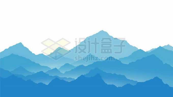 散发出淡淡薄雾的蓝色远山大山高峰山谷剪影风景5195142矢量图片免抠素材免费下载