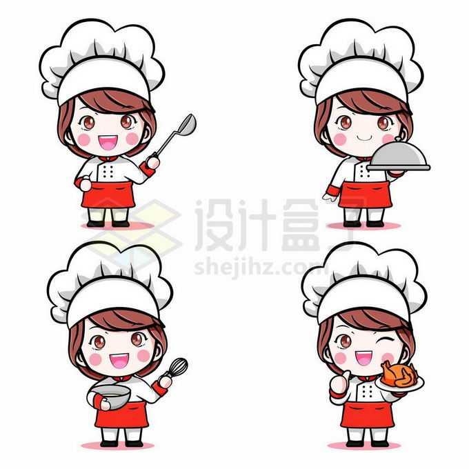 4款超可爱的西餐卡通女厨师3874101矢量图片免抠素材