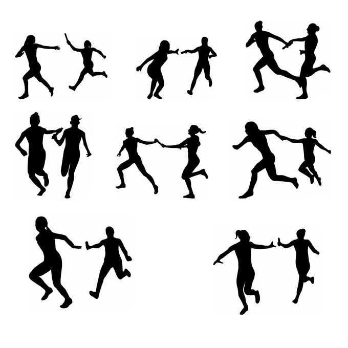 8款接力赛运动员奥运会人物剪影6569571免抠图片素材