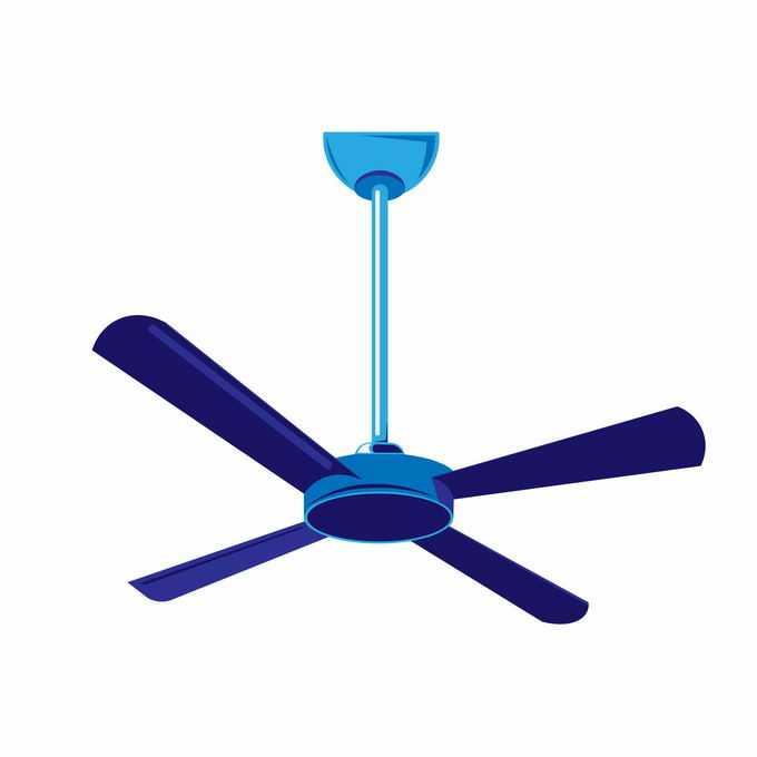 一款蓝色的吊扇电风扇夏天纳凉电器7472299矢量图片免抠素材免费下载