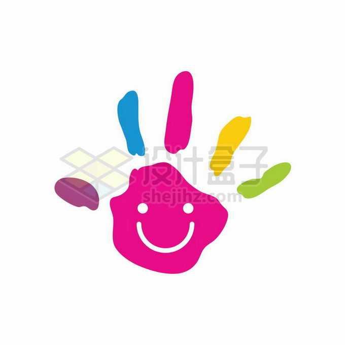 彩色手掌印微笑脸创意文创类标志logo设计6814079矢量图片免抠素材