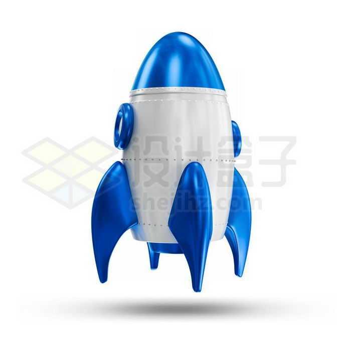 3D立体蓝白色卡通火箭2125635免抠图片素材免费下载