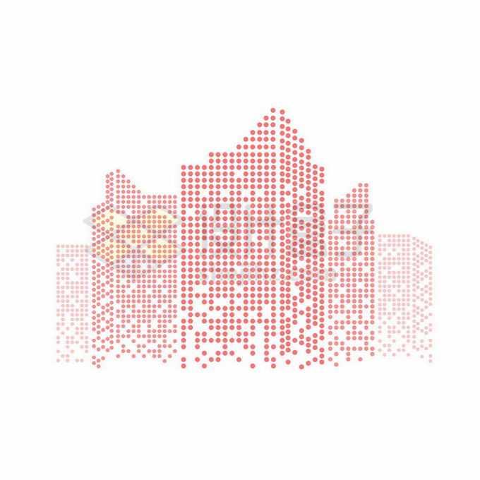 红色圆点组成的城市天际线高楼大厦建筑图案3336209矢量图片免抠素材