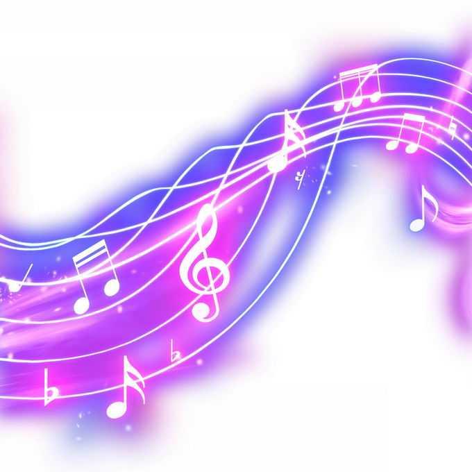 跳动的紫色音乐音符发光五线谱效果5281898免抠图片素材