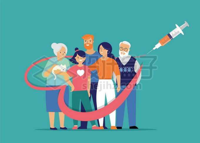 被新冠疫苗保护的一家人医疗插画1757812矢量图片免抠素材免费下载