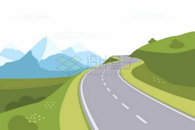 扁平插画风格山腰上的公路风景7298447矢量图片免抠素材