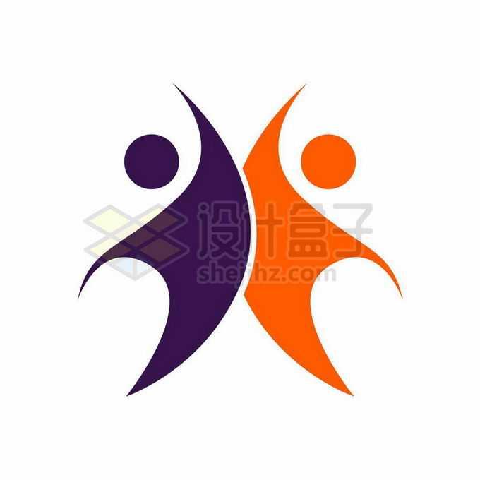 创意紫色红色小人儿象征了体育或者是教育类logo标志设计9897222矢量图片免抠素材