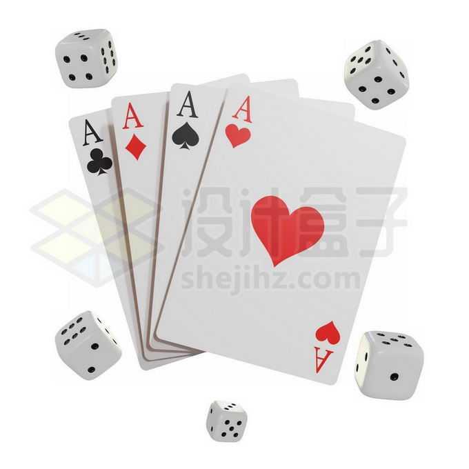 红桃A扑克牌纸牌和骰子棋牌游戏3997001免抠图片素材免费下载
