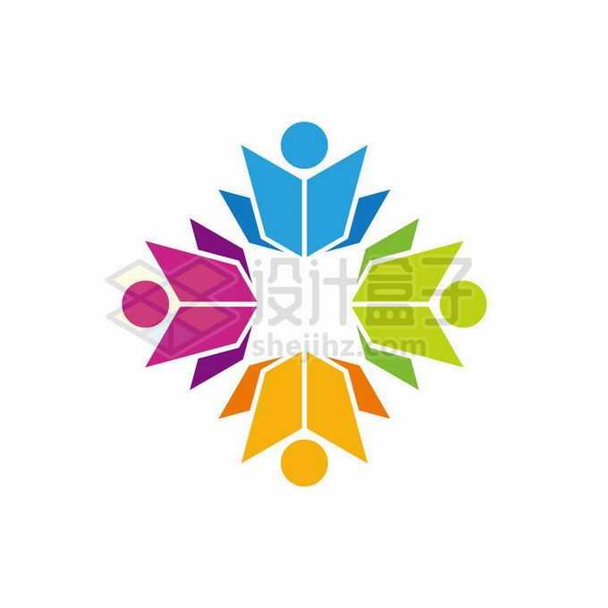 四种颜色的书本变成的小人儿创意文化教育类logo标志设计7147224矢量图片免抠素材