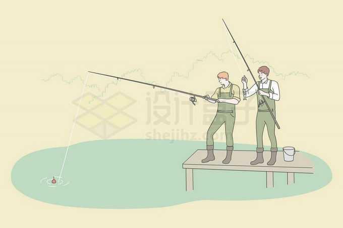 两个年轻人站在码头上用钓鱼竿钓鱼手绘线条插画4742929矢量图片免抠素材免费下载
