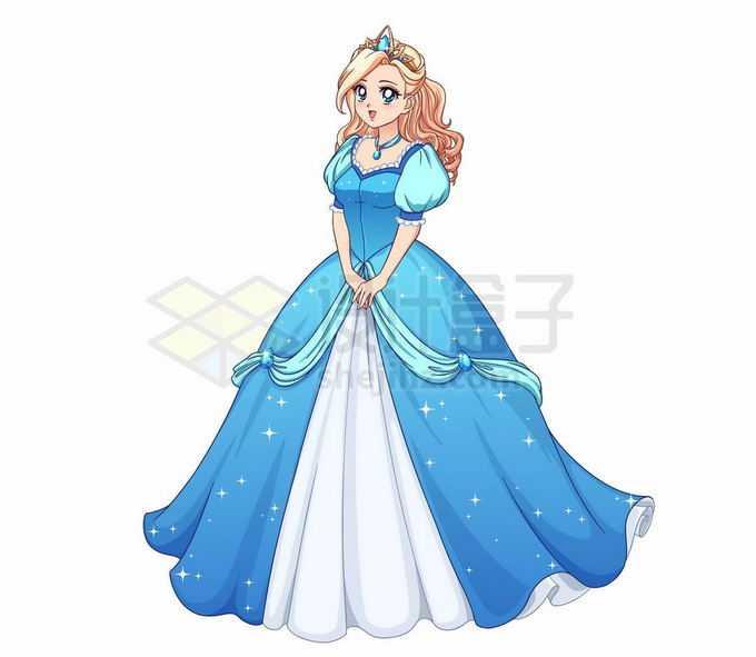 身穿蓝色裙子的迪士尼公主卡通女孩4540290矢量图片免抠素材免费下载