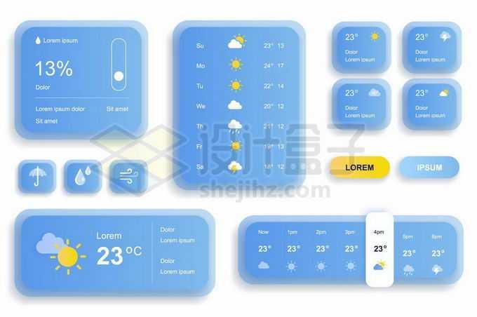 各种圆角蓝白配色的天气预报APP界面和网页界面设计5421558矢量图片免抠素材