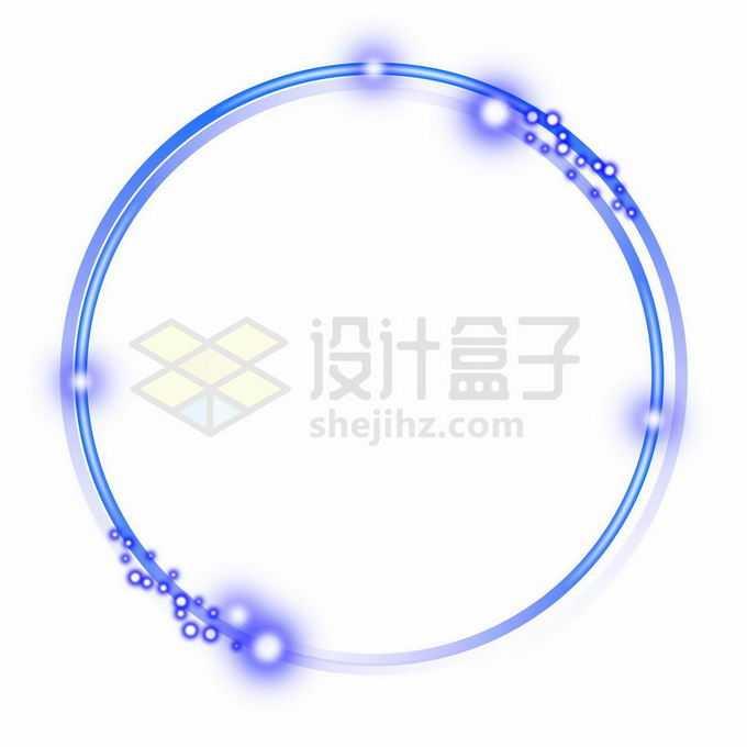 蓝紫色发光线条组成的圆形边框5349192矢量图片免抠素材