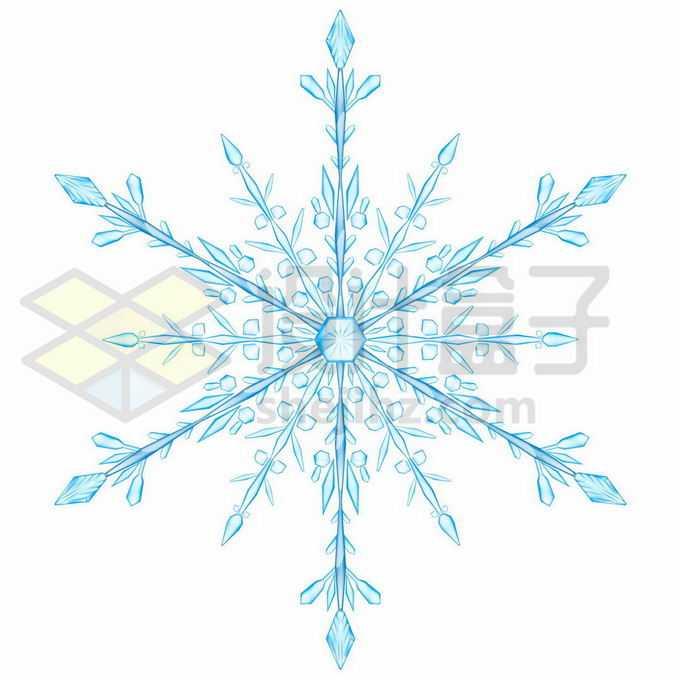 一个蓝色的雪花冰晶复杂图案8808878矢量图片免抠素材免费下载