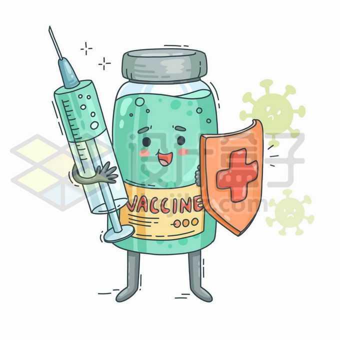 可爱的卡通西林瓶新冠疫苗拿着注射器和防护盾4628492矢量图片免抠素材免费下载