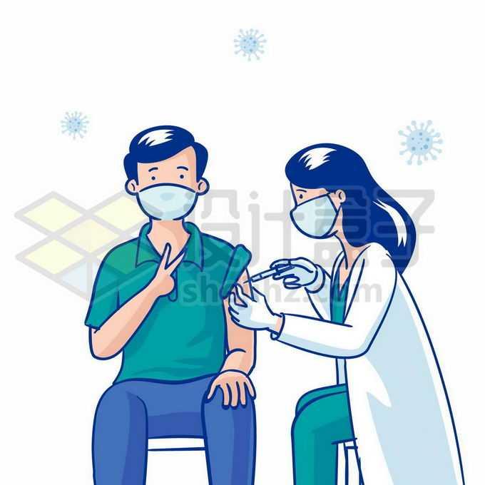 卡通医生正在给男人打针注射新冠疫苗1952143矢量图片免抠素材免费下载