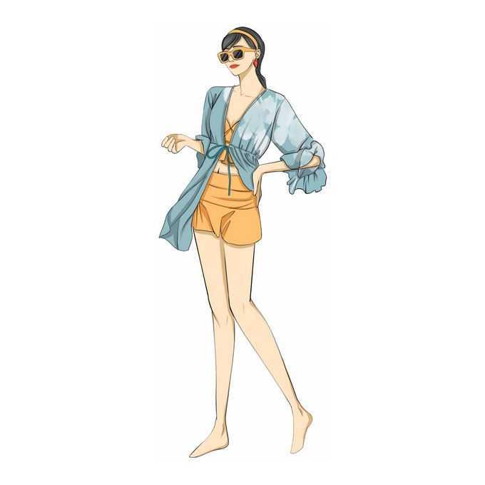 披着绿色防晒衣的比基尼女孩泳装美女手绘插画8508310免抠图片素材
