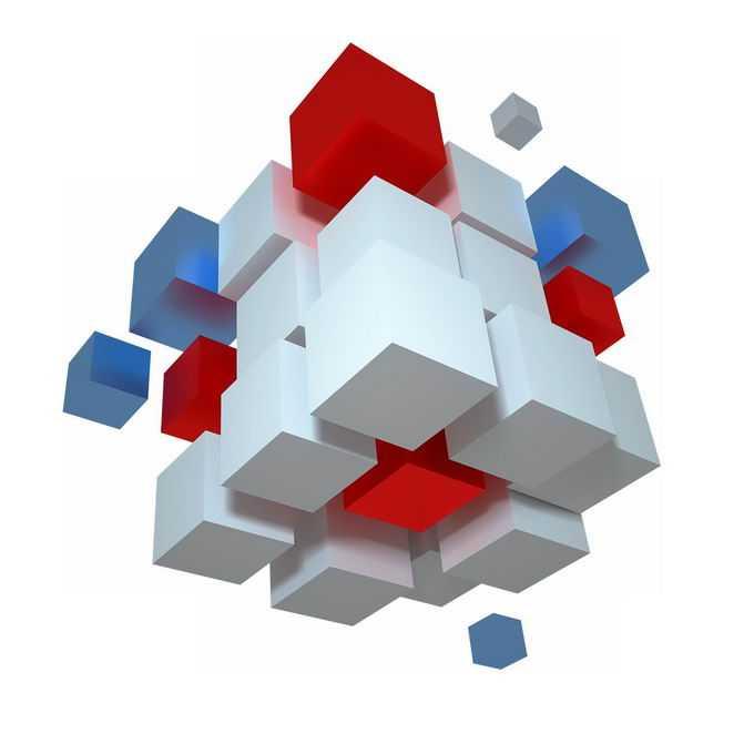 3D立体风格各种颜色的立方体方块组成的形状6305088PSD免抠图片素材