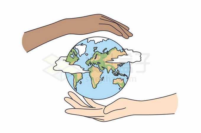 两只手托着地球保护地球手绘插画1926445矢量图片免抠素材免费下载