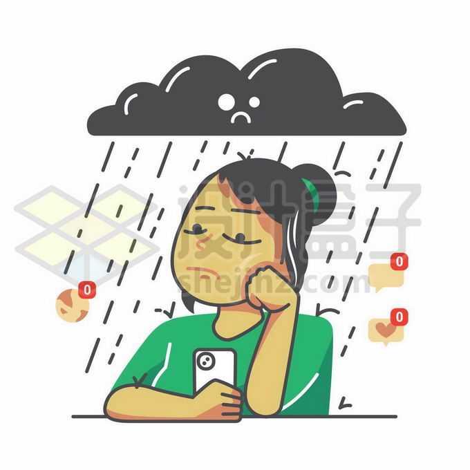 乌云下忧伤的女孩象征了心情郁闷手绘插画2810220矢量图片免抠素材免费下载