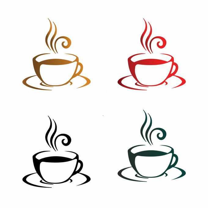 4款咖啡杯咖啡店logo设计方案9638764矢量图片免抠素材免费下载