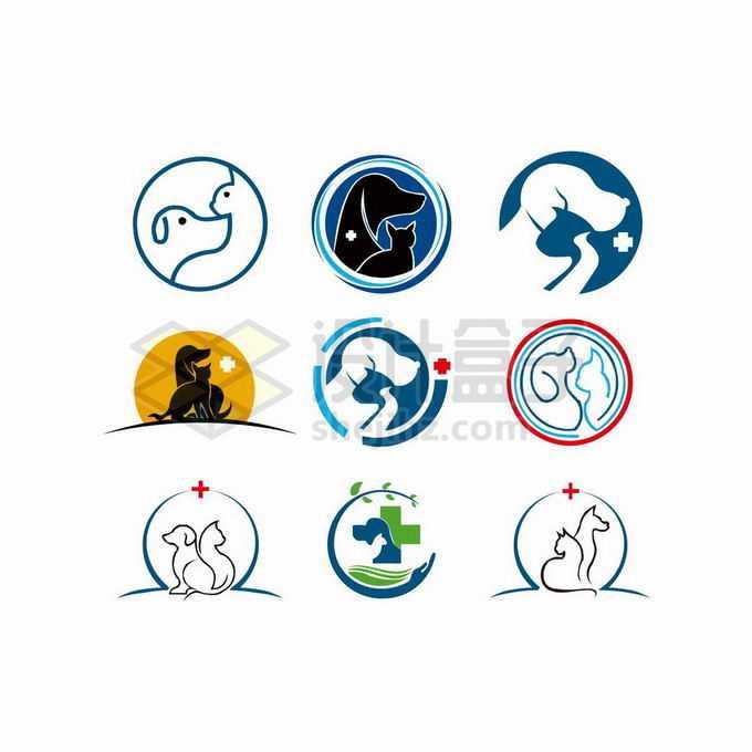 9款猫咪和狗狗创意宠物类标志logo设计7463907矢量图片免抠素材