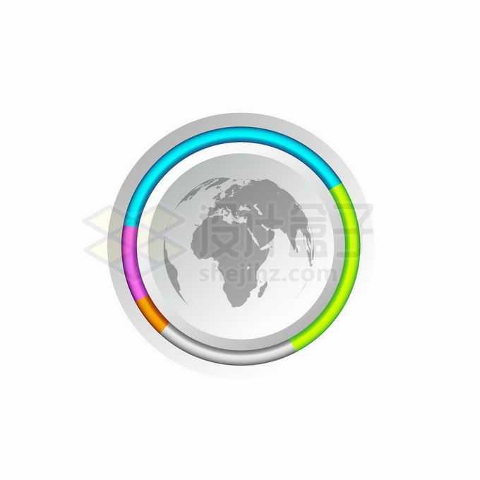 彩色边框的地球图案按钮PPT按钮元素8271034矢量图片免抠素材免费下载