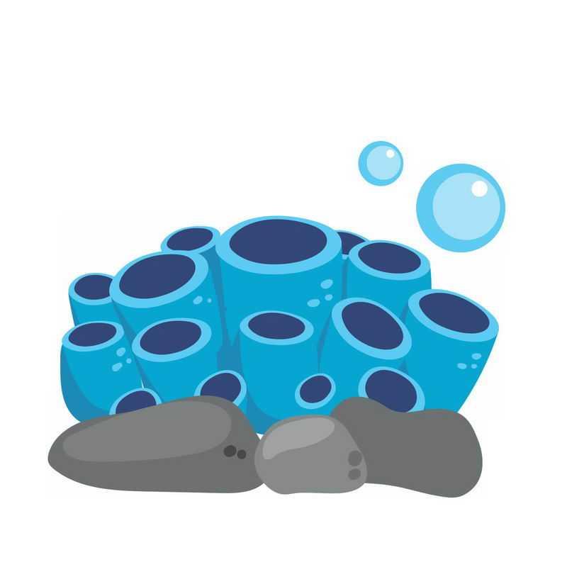 扁平化风格的蓝色海绵海底生物6178956免抠图片素材