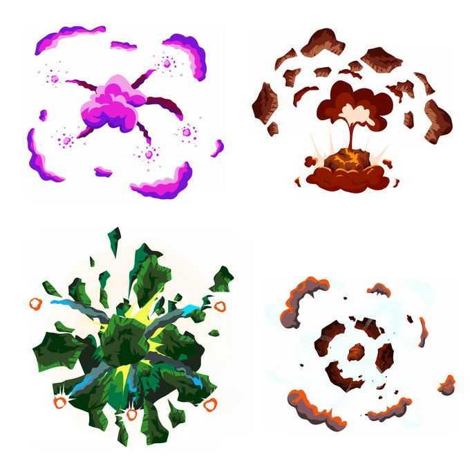 4种卡通漫画风格的彩色爆炸效果5518133矢量图片免抠素材