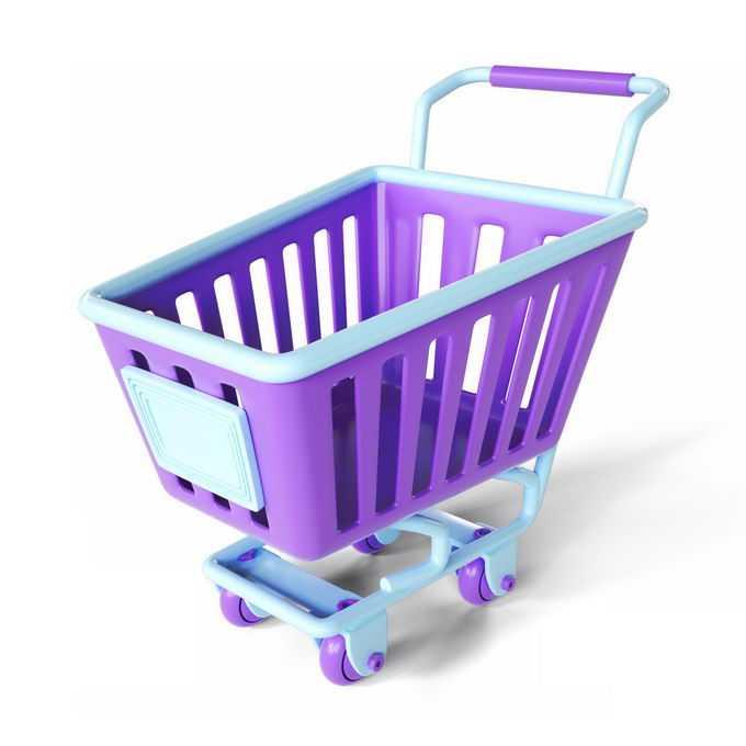 3D立体天蓝色和紫色配色的超市购物车小推车4433700矢量图片免抠素材