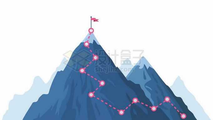 蓝色的大山雪山和登山线路6904058矢量图片免抠素材