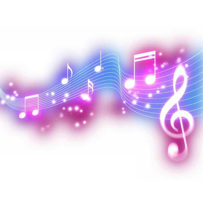 跳动的紫色蓝色音乐音符发光绚丽五线谱效果1737177免抠图片素材