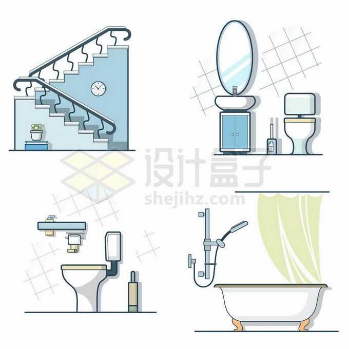 MBE风格楼梯洗漱台抽水马桶浴缸等卫生间装修3171219矢量图片免抠素材