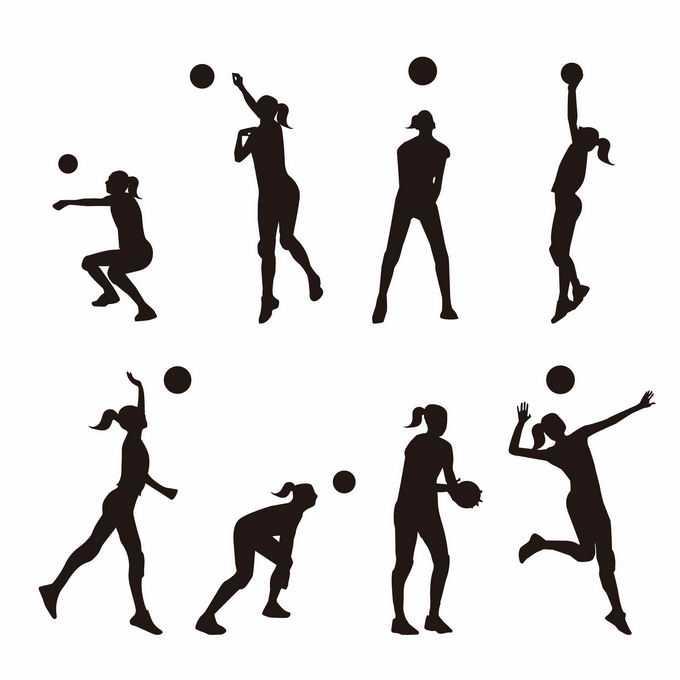 8款打排球的女排运动员奥运会人物剪影3492912矢量图片免抠素材