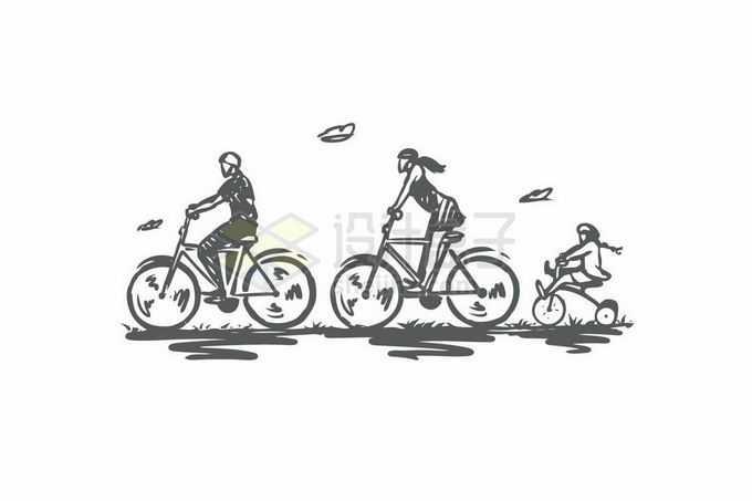 骑自行车的一家三口一家人手绘涂鸦插画8655610矢量图片免抠素材