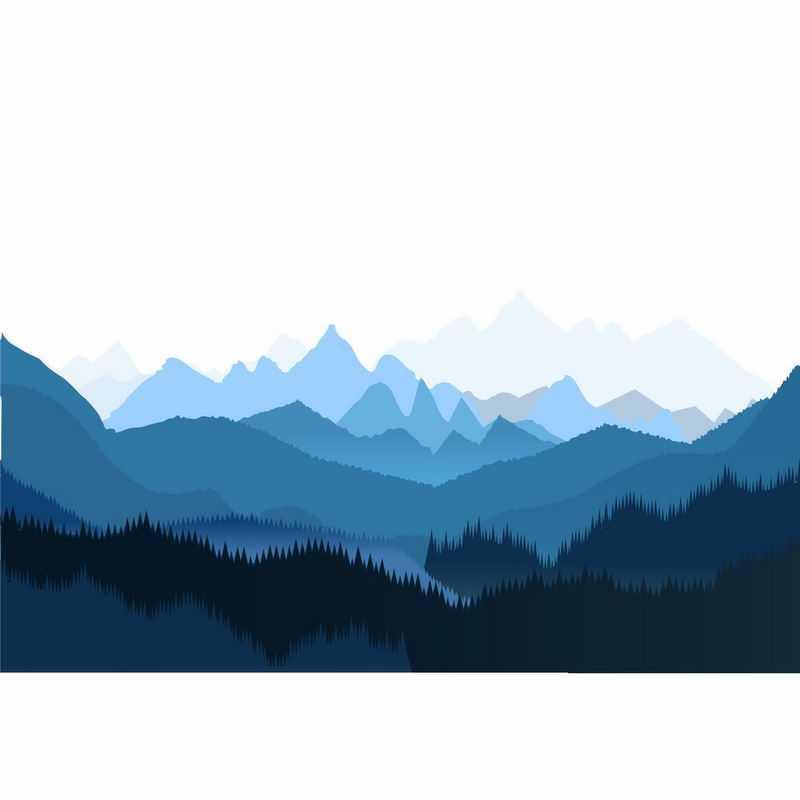 夜晚薄雾下的蓝色山峦起伏远处的大山和森林7743298矢量图片免抠素材