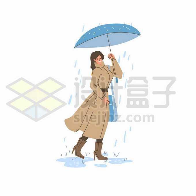下雨天打着雨伞的大衣女人手绘线条插画7615756矢量图片免抠素材免费下载