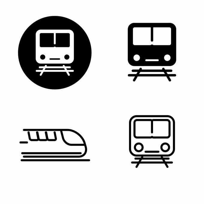 4款黑白色地铁图标标志1192237矢量图片免抠素材免费下载