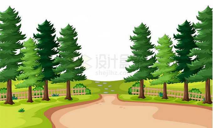 农村乡下卡通大树和中间的泥土路面风景3694321矢量图片免抠素材免费下载