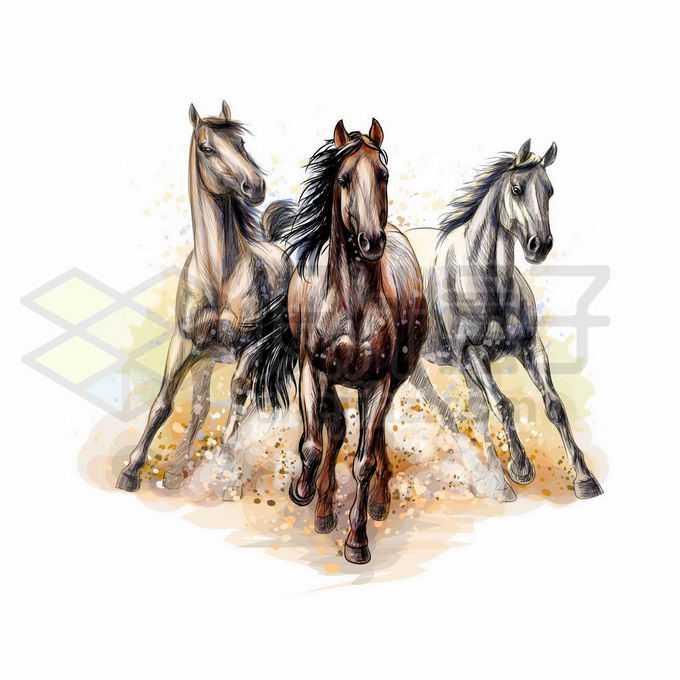 充满力量感的三匹齐头并进的骏马写实风格水彩插画6409081矢量图片免抠素材免费下载