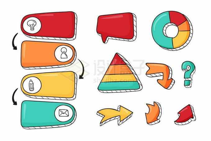 彩色手绘风格饼形图对话框步骤图方向箭头等卡通PPT信息图表8566370矢量图片免抠素材免费下载
