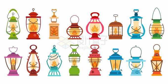 各种各样的复古煤油灯照明灯具4869857矢量图片免抠素材免费下载