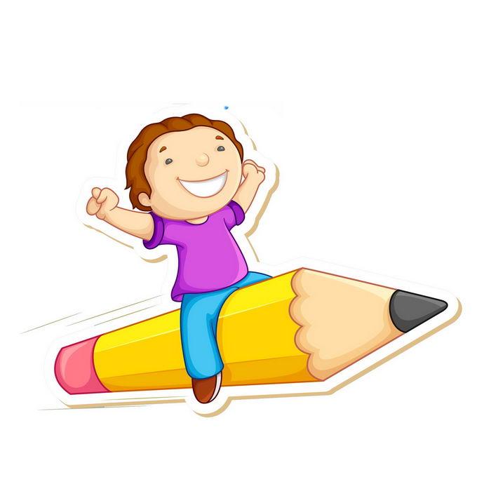 卡通小朋友坐在铅笔上飞行2904232免抠图片素材免费下载 教育文化-第1张