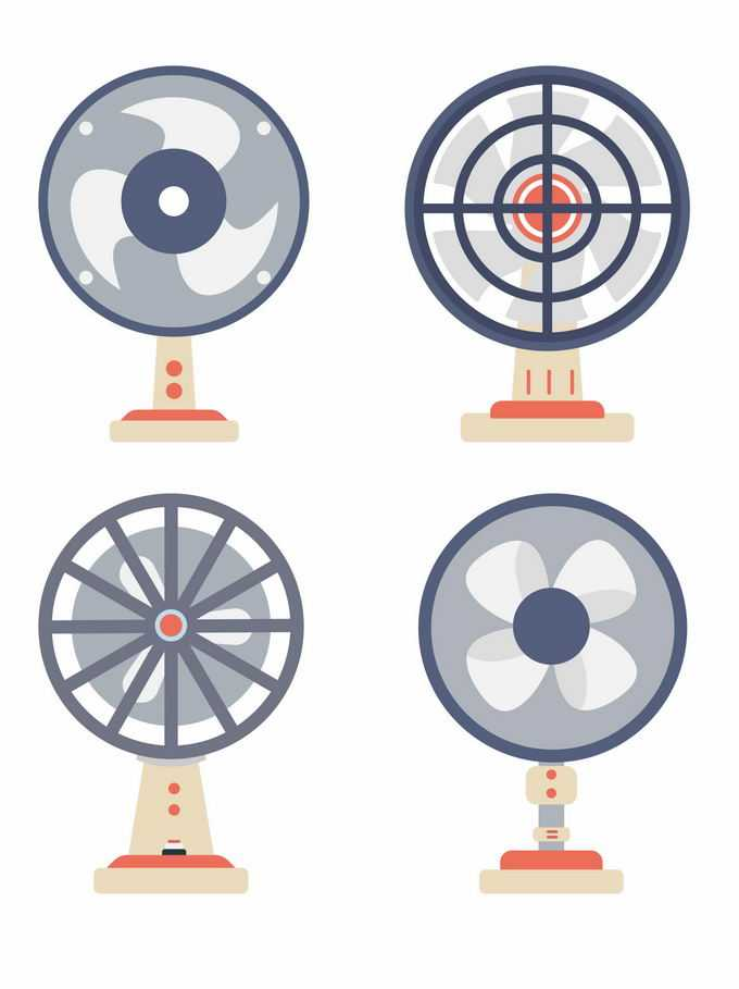 4款扁平化风格的电风扇夏天纳凉电器8316374矢量图片免抠素材免费下载