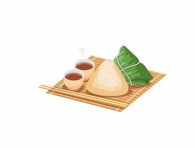 端午节竹盘上的粽子和蘸酱美味美食4341940矢量图片免抠素材免费下载