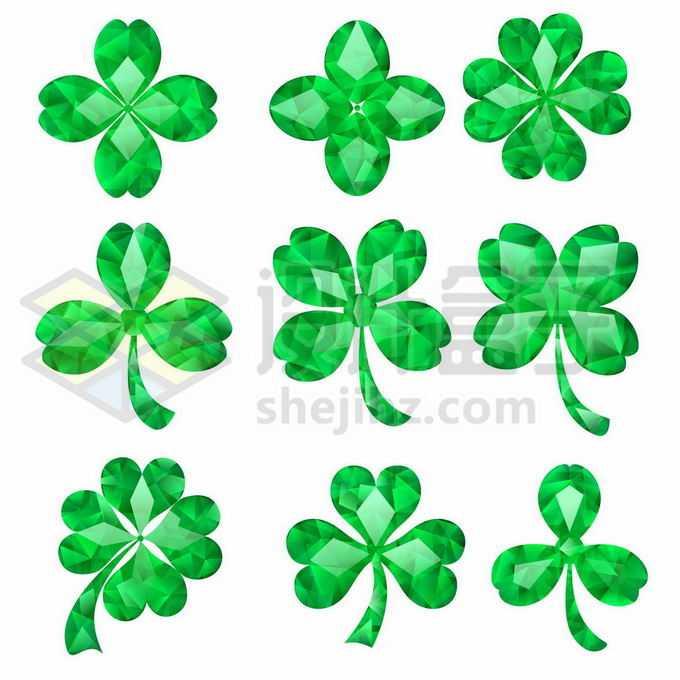 9款绿宝石组成的三叶草四叶草五叶草6732270矢量图片免抠素材免费下载