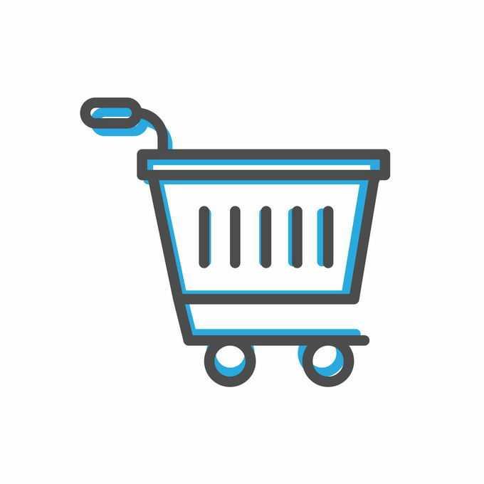 线面双色错位风格超市购物车线条图标7086328矢量图片免抠素材免费下载